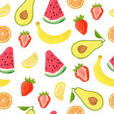 Seamless pattern with fruit and berry decoration. Wallpaper with a pattern of watermelon, banana, strawberry and avocado Stock Photo