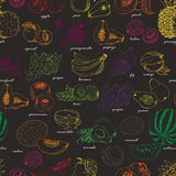 Seamless pattern with fruit on a dark background Stock Photos