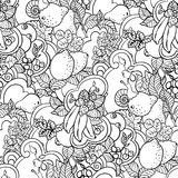 Seamless pattern with fruit ornament in coloring page book style. With abstract curls in vector graphic illustation royalty free stock photo