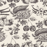 Seamless pattern with fruit, spices in vintage style.  Stock Image