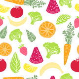 Seamless pattern with fruit and vegetable. Wallpaper with organic decor. Background with vegetarian food. Backdrop with Royalty Free Stock Photos