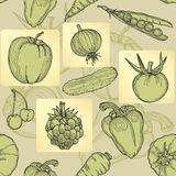 Seamless pattern of fruit, vegetables and berries. Hand drawing, vector Stock Image