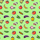 Seamless pattern with fruit and vegetables. Cute seamless pattern with fruit and vegetables stock illustration