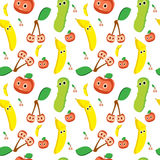 Seamless pattern of fruit and vegetables. Multicolor stock illustration