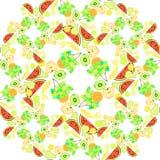 Seamless pattern the fruit watermelon, orange, kiwi, grapes, ban Stock Photos