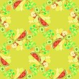 Seamless pattern of fruit watermelon, orange, kiwi, grapes, bana Royalty Free Stock Images