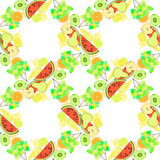 Seamless pattern of fruit watermelon, orange, kiwi, grapes, bana Royalty Free Stock Photography