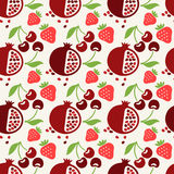 Seamless pattern with fruits and berries Stock Photos