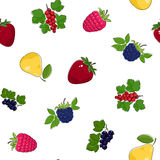 Seamless Pattern of Fruits and Berries Royalty Free Stock Photo