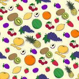 Seamless pattern with fruits and berries Royalty Free Stock Images