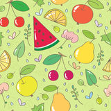 Seamless pattern with fruits and berries, leaves, flowers. Seamless pattern with cherries, apples, pears, watermelon, oranges, leaves, flowers, butterflies on royalty free illustration