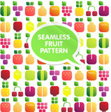Seamless pattern of fruits and berries with leaves. Shiny style Royalty Free Stock Photography