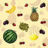 Seamless pattern fruits and berries vector illustration