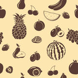 Seamless pattern fruits and berries, silhouettes vector illustration