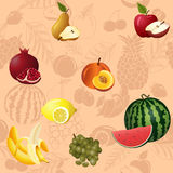 Seamless pattern fruits and berries stock illustration