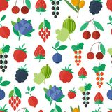 Seamless pattern with fruits and berries. Vector background Royalty Free Stock Image