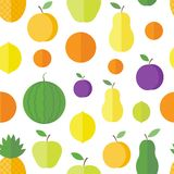 Seamless pattern with fruits and berries. Vector background. Seamless pattern with fresh fruits and berries on a white background in flat style. Vector royalty free illustration