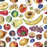 Seamless pattern with fruits, berries and vegetables drawn by hand with colored pencil Stock Photography