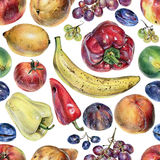 Seamless pattern with fruits, berries and vegetables drawn by hand with colored pencil Royalty Free Stock Image