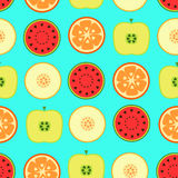 Seamless pattern with fruits. On a blue background Stock Photography