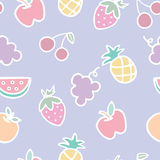 Seamless pattern of fruits cartoon Stock Image