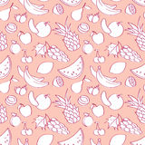 Seamless pattern with fruits in cartoon style Stock Photography