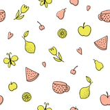 Seamless pattern with fruits doodles. Vector template royalty free illustration