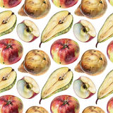 Seamless pattern with fruits drawn by hand with colored pencil Royalty Free Stock Photos