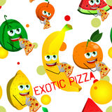 Seamless pattern of fruits eating pizza with exotic pizza text Royalty Free Stock Photo