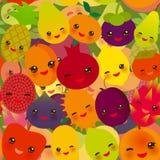 Seamless pattern of fruits. Seamless pattern funny kawaii fruit Pear Mangosteen tangerine pineapple papaya persimmon pomegranate lime apricot plum dragon fruit Stock Images