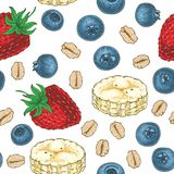 Seamless Pattern with Fruits and Oat Flakes. Seamless Pattern with Blueberry, Strawberry, Banana Slices and Oat Flakes on a White Background Royalty Free Stock Image