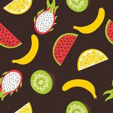 Seamless pattern with fruits. vector illustration
