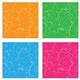 Seamless pattern with fruits such as pear, apple. cherries, plums and grapes. Vector Royalty Free Stock Photo