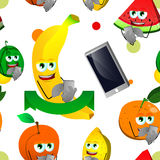 Seamless pattern of fruits using a smartphone Stock Image