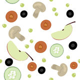 Seamless pattern with fruits and vegetables Royalty Free Stock Photos