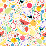 Seamless pattern fruits and vegetables Royalty Free Stock Photo