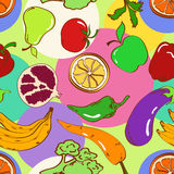 Seamless pattern of fruits and vegetables Royalty Free Stock Image