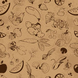 Seamless pattern of fruits and vegetables Royalty Free Stock Photo