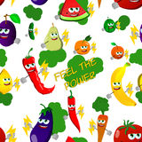 Seamless pattern of fruits and vegetables holding lighting with feel the power text Stock Photography