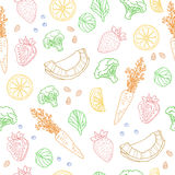 Seamless pattern with fruits, vegetables, nuts and herbs. vegetarian wallpaper.  Stock Photo