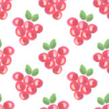 Seamless pattern with fruits. Watercolor background with hand drawn berries. Royalty Free Stock Photography