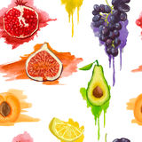 Seamless pattern. Fruits with watercolor splashes Royalty Free Stock Photography