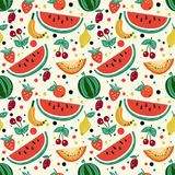 Seamless pattern of fruits, watermelon, melon, strawberry, cherry, plum, kiwi. For textile design or any other printing stock illustration