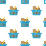 Blue Full Shooping Basket Seamless Stock Photos