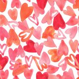 Seamless pattern full of red heart design for valentine`s day, illustration stock images