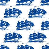 Seamless pattern of a fully rigged sailing ship Stock Photo