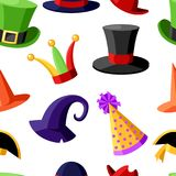Seamless pattern fun carnival festive collection of cute celebration and disguise hat  illustration on white background webs. Ite page and mobile app design Stock Images