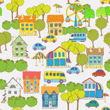 Seamless pattern.fun town.hand drawn. Stock Images
