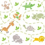 Seamless pattern with funny african animals Royalty Free Stock Photos