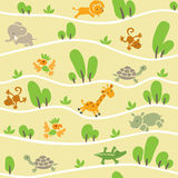 Seamless pattern with funny african animals Stock Photo